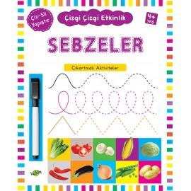 Kukla Yayınları Çizgi Çizgi Etkinlik - Sebzeler Çıkartmalı Aktiviteler
