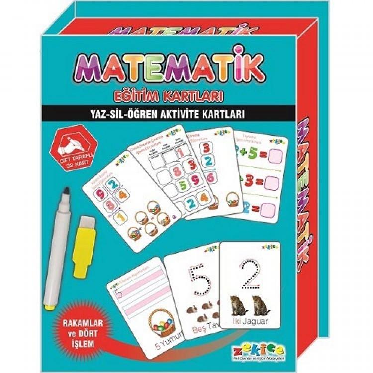 Zekice Eğitici Matematik Kartları - Yaz Sil Öğren Aktivite Kartları