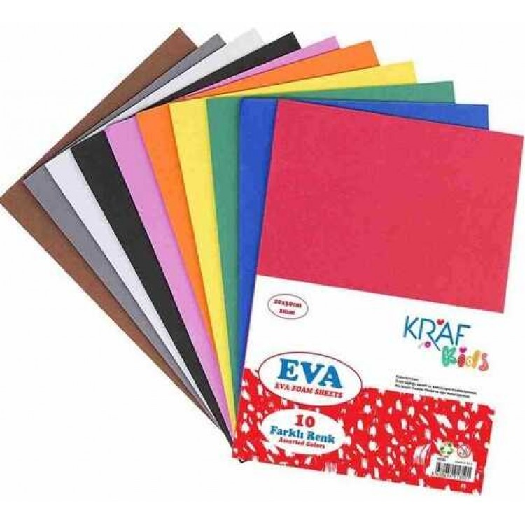 Kraf Eva 20x30cm 2mm 10 Farklı Renk KK05