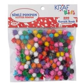 Kraf Simli Ponpon 200'lü Simli 1cm Karışık Renk KK-75