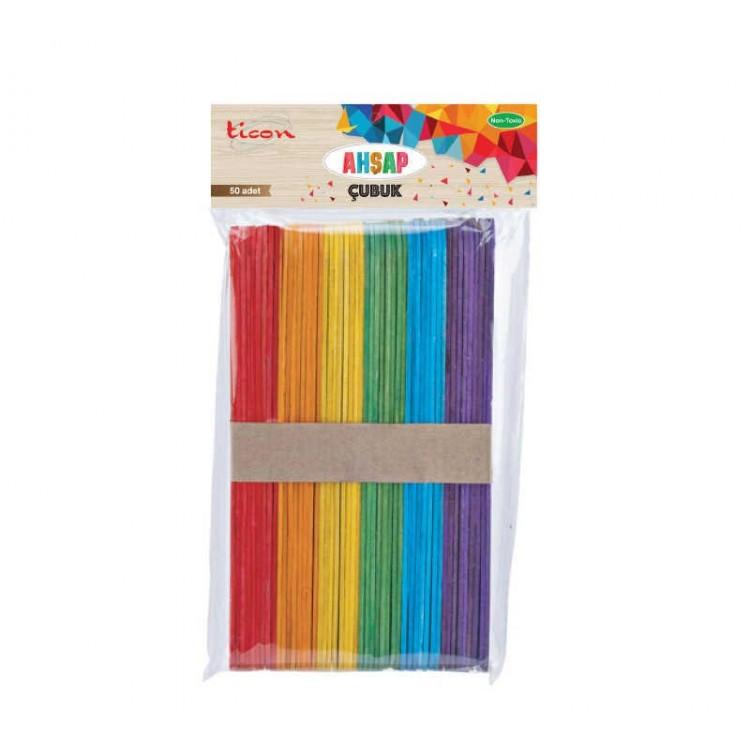 Ticon Renkli Ahşap Çubuk Geniş 50'li