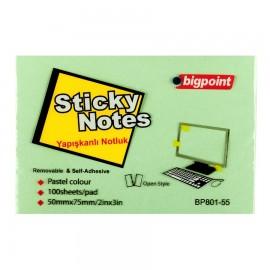Bigpoint Yapışkanlı Not Kağıdı 75x50 mm Yeşil
