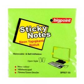 Bigpoint Yapışkanlı Not Kağıdı 75x75 mm Neon Yeşil