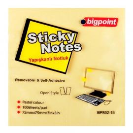 Bigpoint Yapışkanlı Not Kağıdı 75x75 mm Sarı