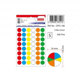 Tanex Karışık Renkli Yuvarlak Etiket Ofc-130
