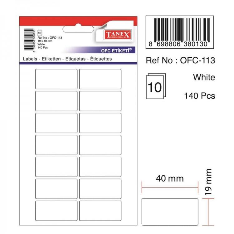 Tanex OFC Etiketi Beyaz OFC-113