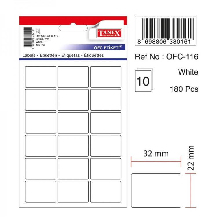 Tanex OFC Etiketi Beyaz OFC-116