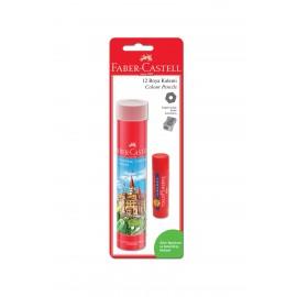 Faber-Castell 12 Renk Tüp Kuru Boya Kalemi (Stick Yapıştırıcı + Kalemtraş Hediyeli)