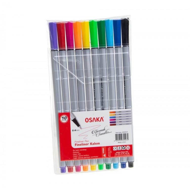 Osaka Fineliner İnce Uçlu Kalem 10 Adet 0.4mm