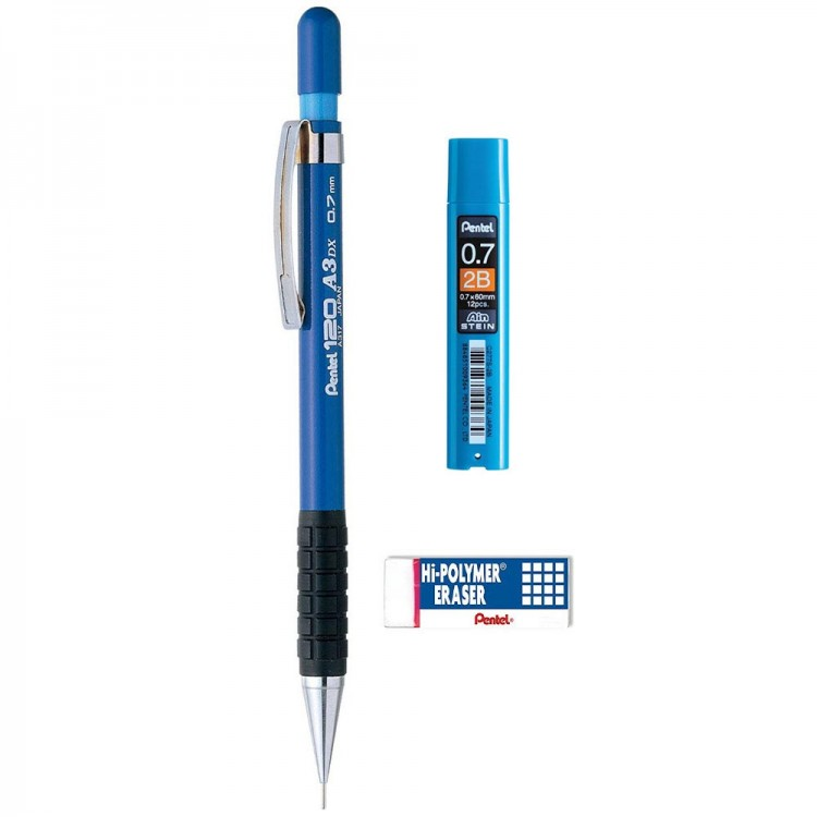 Pentel 120 A3 DX Versatil Kalem 0.7 mm 3'lü Set Mavi