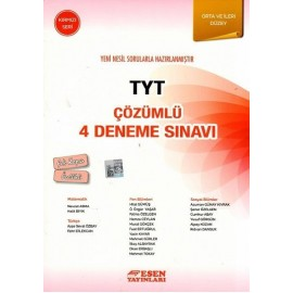 Esen Yayınları TYT Çözümlü 4 Deneme Sınavı Orta ve İleri Düzey Kırmızı Seri